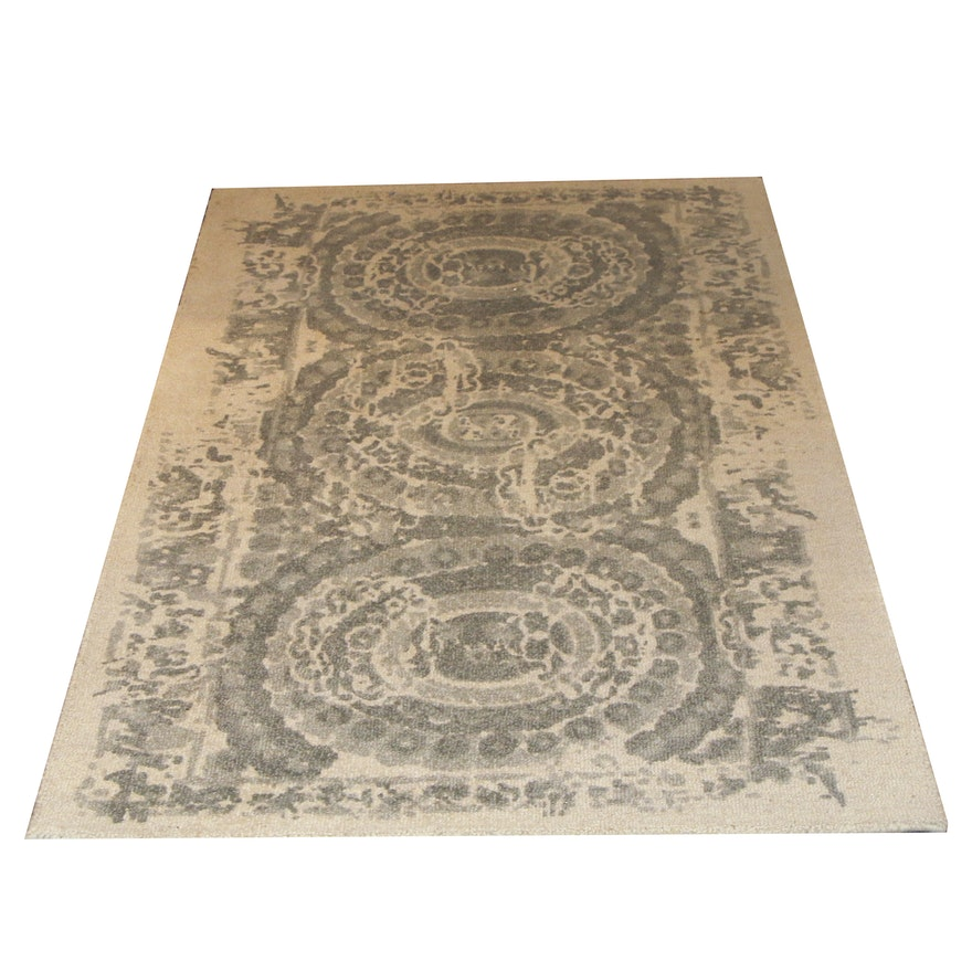 """Tufted Pottery Barn """"Bosworth Printed Grey"""" Wool Accent Rug"""