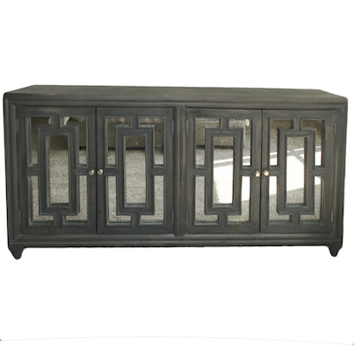 Contemporary Mirrored Front Engineered Wood Credenza