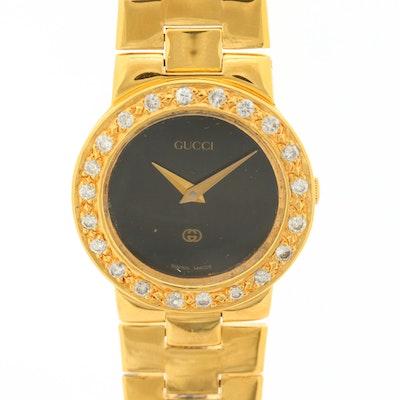 Gucci 3300L Gold Tone and Diamond Bezel Quartz Wristwatch