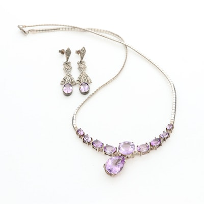 Sterling Silver Amethyst Necklace and Earrings with Marcasite Accents