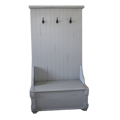 Contemporary Wooden Hall Tree and Storage Bench with Grey Painted Finish