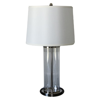 Contemporary Glass and Metal Table Lamp