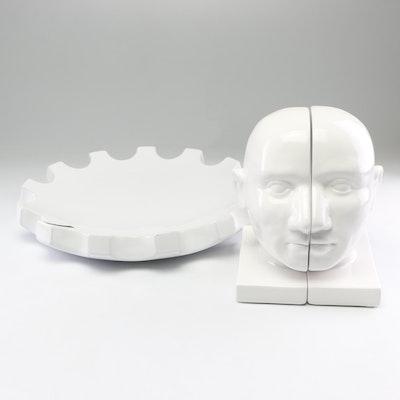 White Ceramic Head Profile Bookends and Centerpiece Dish
