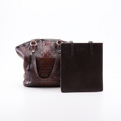 Brahmin Croc Embossed Leather and Perry Ellis Leather Shoulder Bags