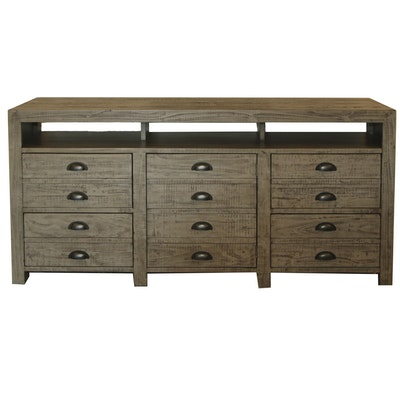 Rustic Wooden Entertainment Console with Distressed Finish, 21st Century