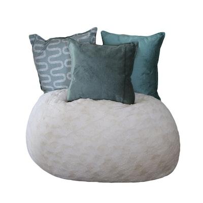 Cream Faux Fur Bean Bag Chair with Three Throw Pillows