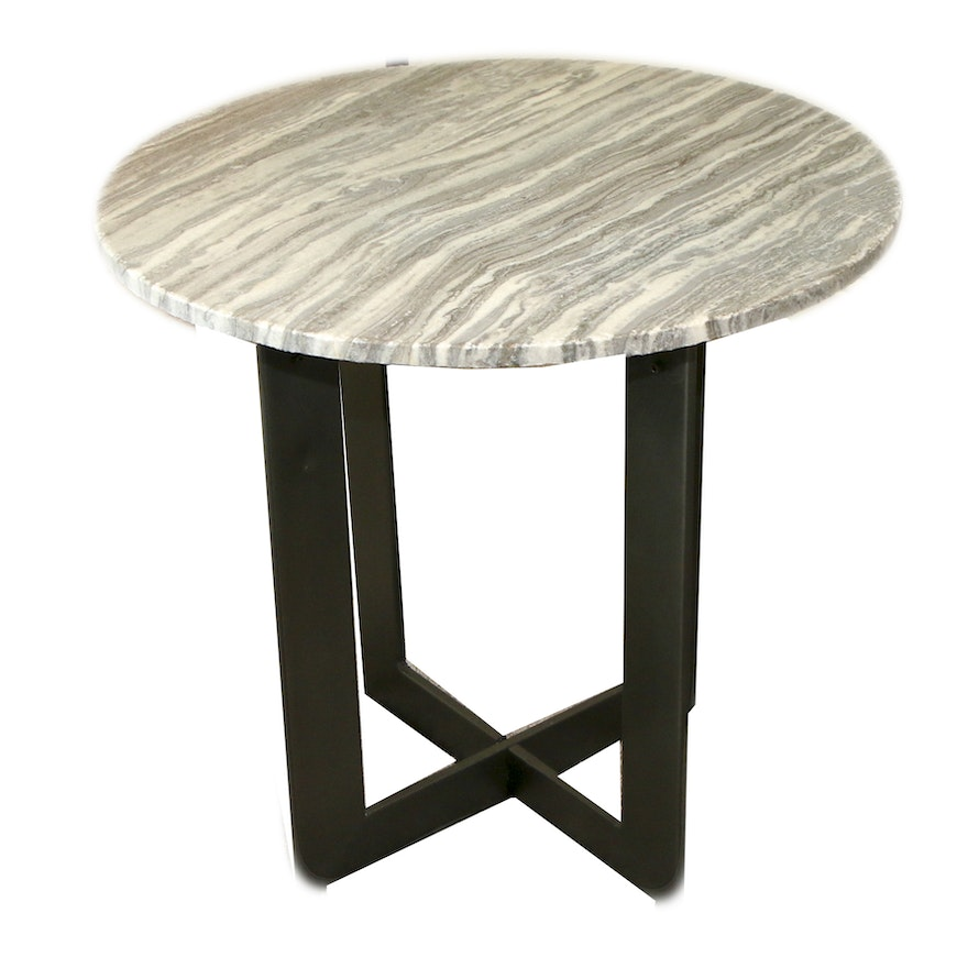 Contemporary End Table with Stone Top and Metal Base