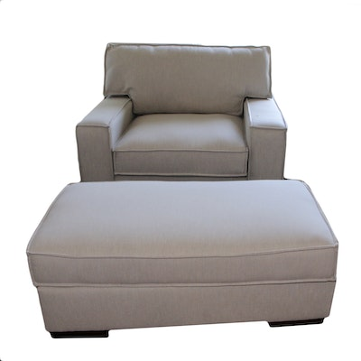 Oversized Cream Fabric Upholstered Armchair and Ottoman, 21st Century