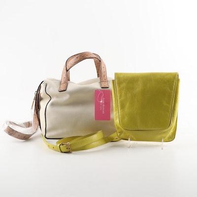 Isaac Mizrahi Leather Pamela Satchel and Hobo Chartreuse Crossbody Bag