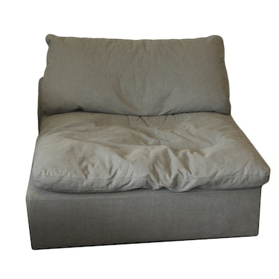 Oversized Armless Slipper Chair with Grey Fabric, 21st Century