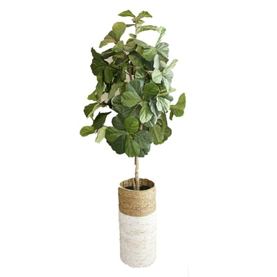 Artificial Fiddle Leaf Fig Tree with Rattan Base