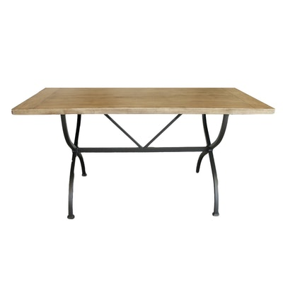 Wooden Table with Metal Base and Distressed Finish, 21st Century