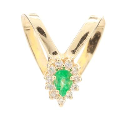 14K Yellow Gold Emerald and Diamond Sliding Pendant