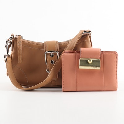 Coach Mini Hampton Camel Leather Handbag and Peach Leather Wallet