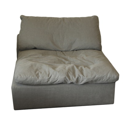 Grey Fabric Oversized Upholstered Armless Chair, 21st Century