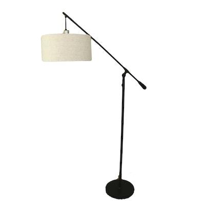 Black Matte Finish Adjustable Floor Lamp with Drop Linen Drum Shade