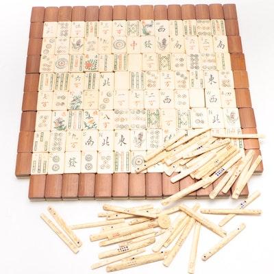 Chinese Bone and Bamboo Tile Mahjong Set