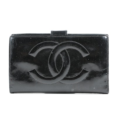 Chanel CC Wallet in Black Patent Patent Leather