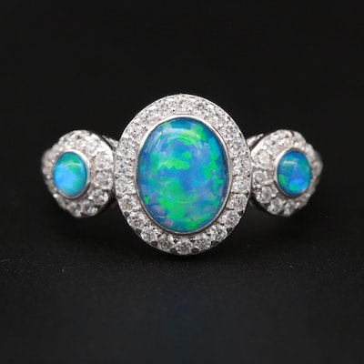 Sterling Silver Opal and Cubic Zirconia Ring
