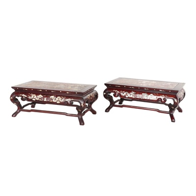 Chinese Abalone Inlay Footstools with Granite Tops, Vintage