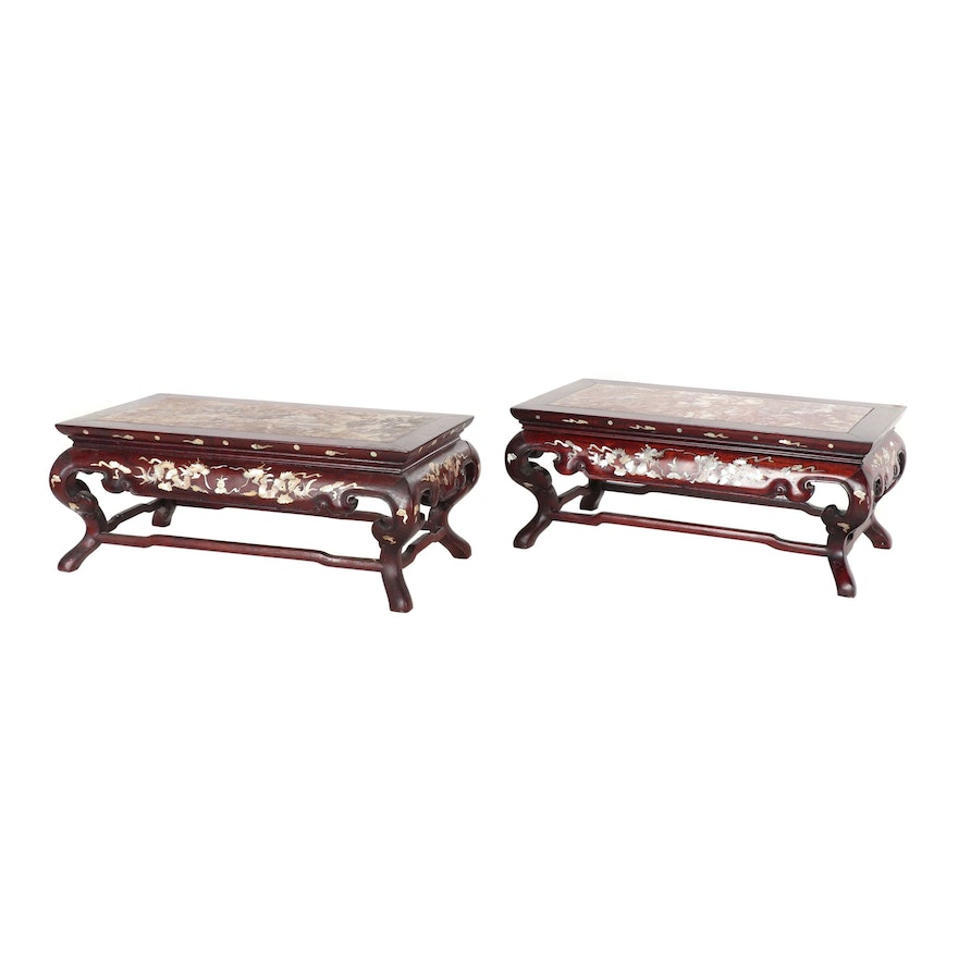 Fine Chinese Abalone Inlay Footstools With Granite Tops Vintage Cjindustries Chair Design For Home Cjindustriesco