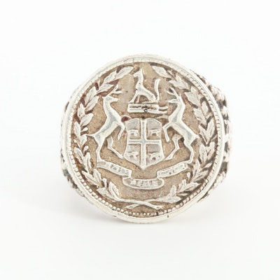 Sterling Silver Signet Coin Ring