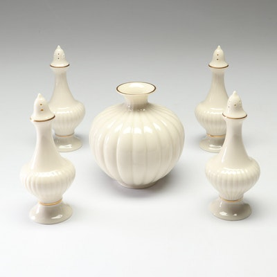 "Lenox ""Essex Collection"" Gilt Porcelain Salt and Pepper Shakers and Vase"