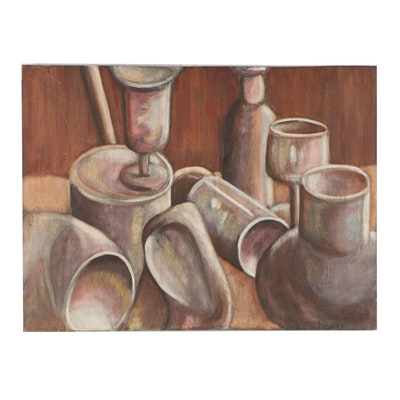 Sill Life with Cups Acrylic Painting