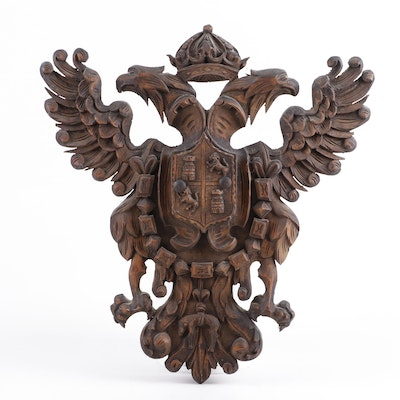 Carved Wood Heraldic Shield Wall Decor, Vintage
