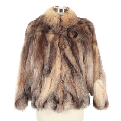 Fox Fur Batwing Jacket, 1980s Vintage