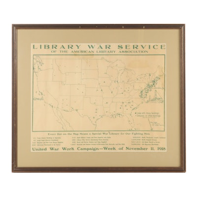 1918 Library War Service Relief Print Map