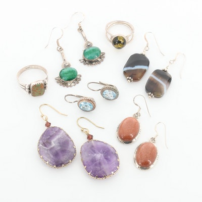 Assorted Sterling Silver Mixed Gemstone Earrings and Pendants