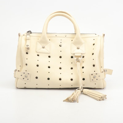 """Marc Jacobs Perforated Cream Leather """"Brigitte"""" Bag with Tassel"""