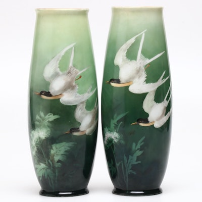 Hand-Painted Austrian Porcelain Vases, Early 20th Century