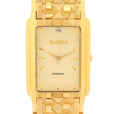 Elgin Diamond Dial Yellow Tone Quartz Wristwatch
