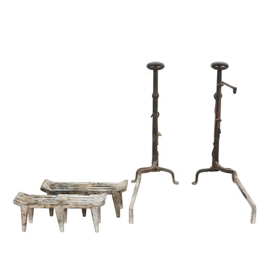 Forged Iron Andirons Featuring Pot Hook with Fireplace Log Grates