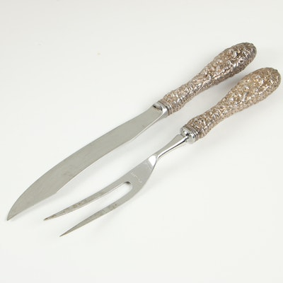 """Stieff """"Stieff Rose"""" Sterling Handle Game Carving Set, Early 20th Century"""