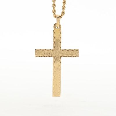 14K Yellow Gold Cross Pendant Necklace