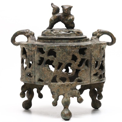 Japanese Bronze Incense Burner with Guardian Lion Finial, Early 20th-Century