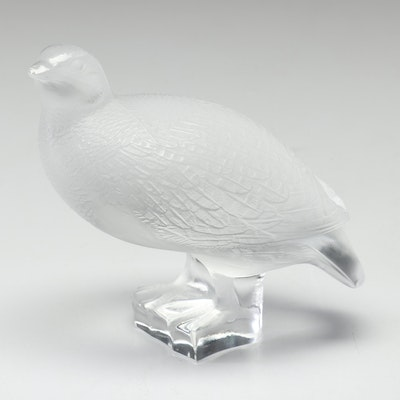 Lalique Frosted Crystal Worry Quail Paperweight