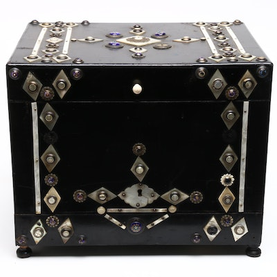 Asian Inspired Portable Lacquered Wood Chest Bar with Cloisonné-Abalone Inlay