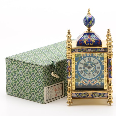 Chinese Brass and Cloisonne Empire Shelf Clock