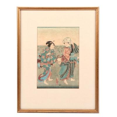 Utagawa Kunisada Ukiyo-e Woodblock Print of Couple at Festival