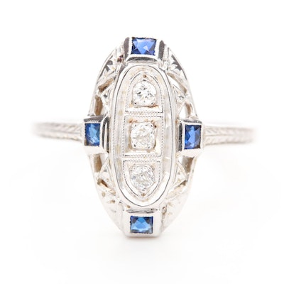 Vintage 18K White Gold Diamond and Sapphire Ring