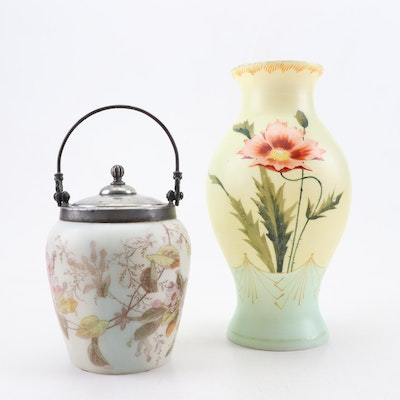 Mt. Washington Glass Biscuit Jar with Satin Glass Vase, Late 19th/Early 20th C