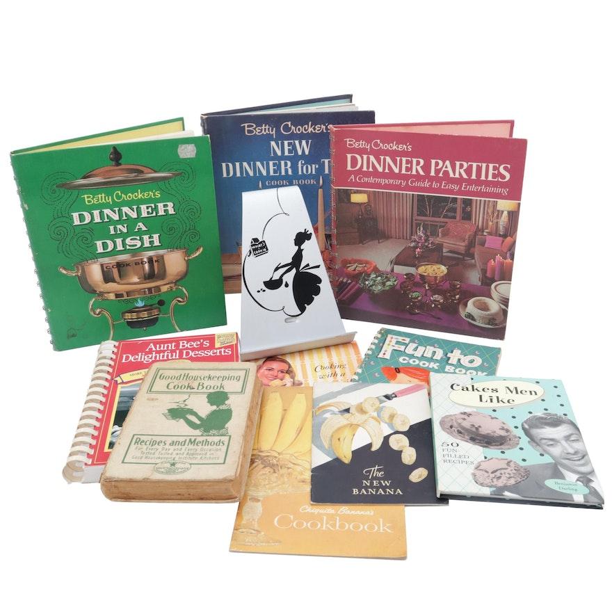 Vintage Cookbooks and Cookbook Easel