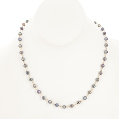 Cultured Pearl Necklace with 14K Clasps