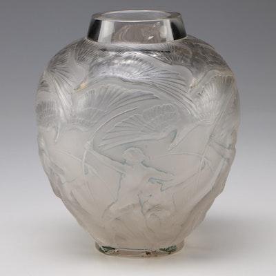 """René Lalique """"Archers"""" Frosted Demi Cristal Vase, 1921-1945"""