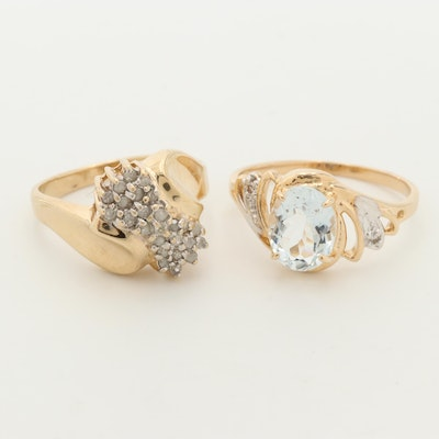 10K Yellow Gold Aquamarine and Diamond Rings