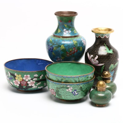 Chinese Cloisonné Enamel Bowls, Vases, and Salt-Pepper Shakers
